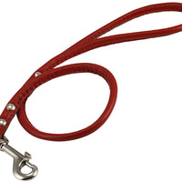 "Round Genuine Rolled Leather Dog Short Leash 24"" Long 3/8"" Wide Red for Medium Breeds"