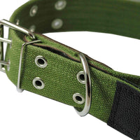 "Heavy Duty Cotton Web and Leather Dog Collar 1.75"" Wide Fits 19""-27"" Neck XLarge Rottweiler, Mastiff"