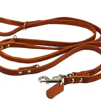 "6 Way Euro Multifunctional Leather Dog Leash, Adjustable Lead 49""-94"" Long, 1/2"" Wide (12 mm)"