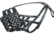"Real Leather Cage Basket Secure Dog Muzzle - Great Dane, Saint Bernard (Circumf 18.5"", Snout 4.7"")"