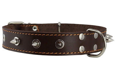 Real Leather Brown Spiked Dog Collar Spikes, 1.25