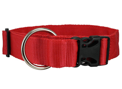 Heavy Duty Adjustable Red Nylon Dog Collar 1.5