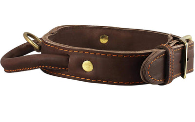 Genuine Leather Dog Collar, Rolled Leather Handle Brown