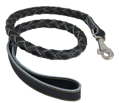 4-thong Round Fully Braided Genuine Leather Dog Leash, 43
