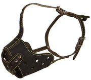 "Real Leather Cage Basket Secure Dog Muzzle - Rottweiler, (Circumference 14.7"", Snout Length 3.5"")"