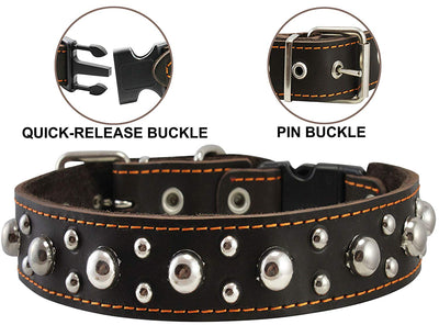 Brown Genuine Leather Studded Dog Collar, Soft Suede Padded1.5