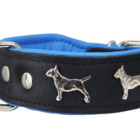 "Real Leather Soft Leather Padded Dog Collar Bull Terrier 1.75"" Wide. Black/Blue"