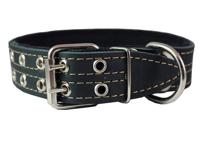 Genuine Leather Dog Collar, Padded Black, 1.5