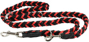 "6 Way European Multifunctional Braided Dog Leash Adjustable Schutzhund Lead 42""-68"" Long 4 Sizes Red"