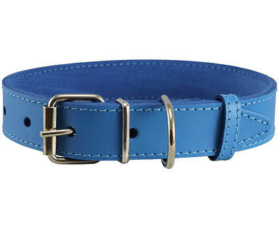 Genuine Leather Dog Collar Blue 4 Sizes