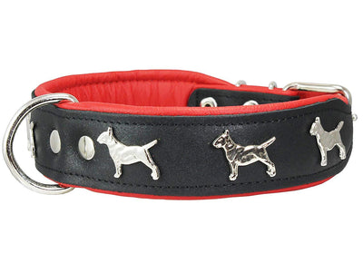 Real Leather Soft Leather Padded Dog Collar Bull Terrier 1.75