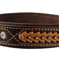 "Genuine Leather Braided Studded Dog Collar, Brown 1.6"" Wide. Fits 19""-24"" Neck."