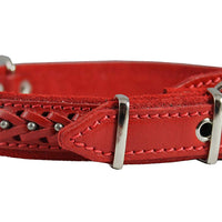 "Genuine Leather Braided Studded Dog Collar Red 1"" Wide. Fits 14""-18"" Neck Brittany, Collie, Harrier"