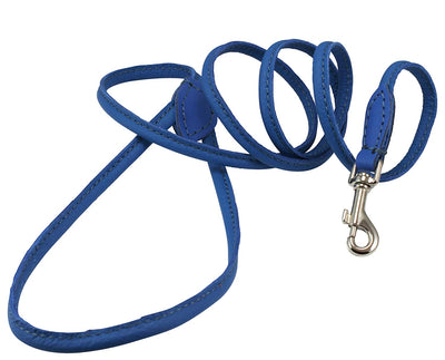 Dogs My Love 4ft Long Round Genuine Rolled Leather Dog Leash Blue