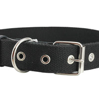 "Black Heavy Duty Cotton Web Dog Collar 1.5"" Wide. Fits 20""-25.5"" Neck XLarge"