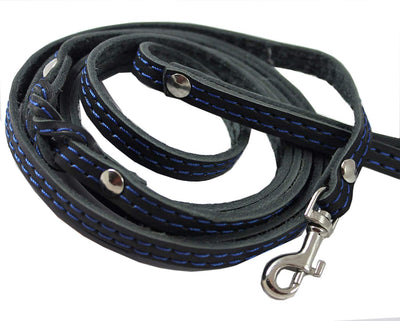 6' Long Genuine Leather Braided Dog Leash Black 3/8