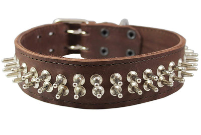 Thick Genuine Leather Spiked Dog Collar2