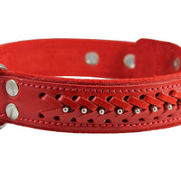 "Genuine Leather Braided Studded Dog Collar, Red 1.5"" Wide. Fits 17""-22"" Neck size. Amstaff, Pitbull"