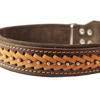 "Genuine Leather Braided Studded Dog Collar, Brown 1.5"" Wide. Fits 17""-22"" Neck."