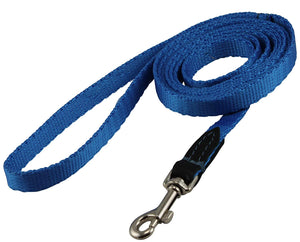 "Dog Leash 1/2"" Wide Nylon 6ft Length with Leather Enforced Snap Blue Small"