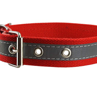 "Cotton Web/Leather Reflective Dog Collar 24"" Long 1.5"" Wide Fits 16""-22"" Neck, Pitbull, Cane Corso"