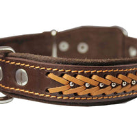 "Genuine Leather Braided Studded Dog Collar, Brown 1.25"" Wide. Fits 16""-20.5"" Neck."
