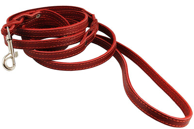 6' Genuine Leather Braided Dog Leash Red 3/8