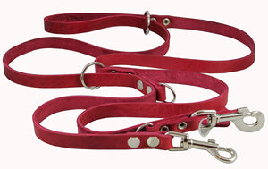 "6 Way Euro Multifunctional Leather Dog Leash, Adjustable Lead 49""-94"" Long, 3/4"" Wide (18 mm)"