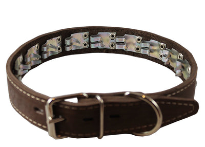 Training Pinch and Genuine Leather Studded Dog Collar Fits 13