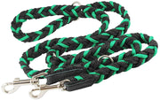 "6 Way Euro Multifunctional Braided Dog Leash, Adjustable Schutzhund Lead 42""-68"" Long 4 Sizes Green"