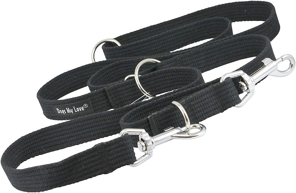 "1"" Wide Cotton Web 6-Way European Multi-functional Dog Leash, Adjustable Lead 45""-78"" Long, Large"