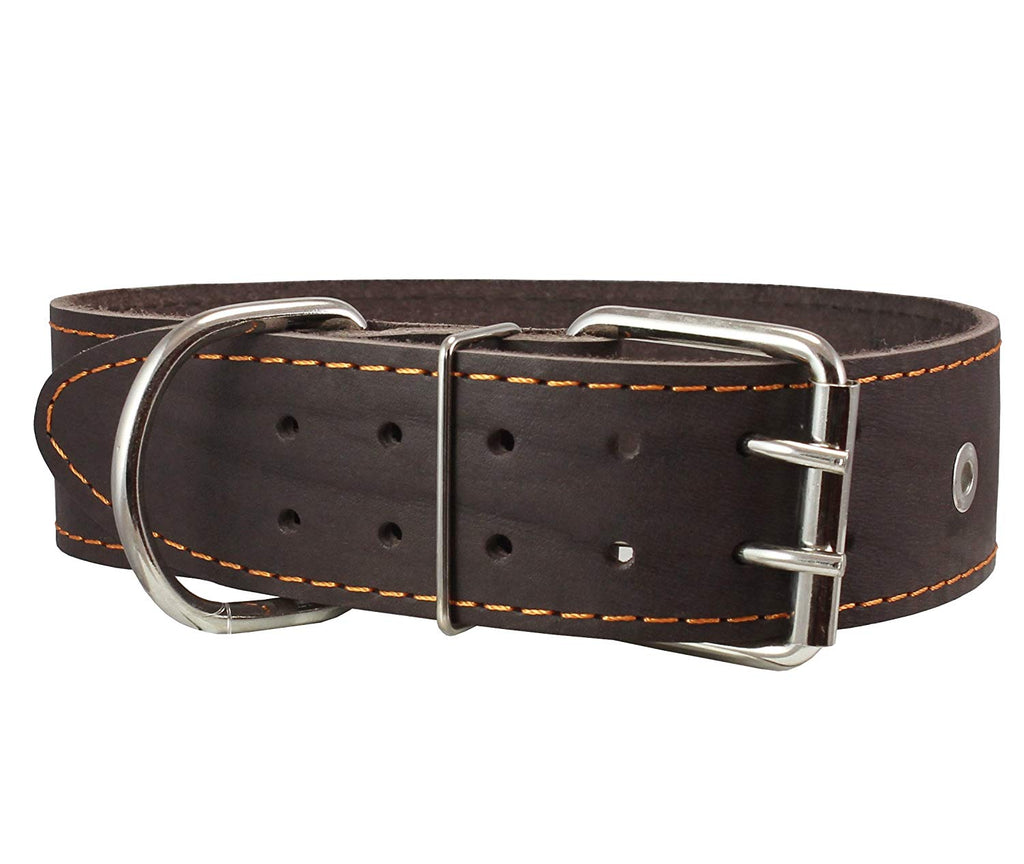 "Genuine Leather Studded Dog Collar, Brown, 1.75"" Wide. Fits 18.5""-22"" Neck.For Large Breeds"