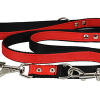 "Dogs My Love 1"" Wide 6 Way Euro Multi-functional Nylon Dog Leash, Adjustable Lead Red 40""-70"" Long"