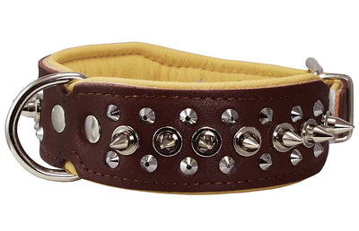 Dogs My love Spiked Studded Genuine Leather Dog Collar 1.75