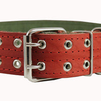 "Genuine Leather Dog Collar, Padded, Red 1.75"" Wide. Fits 23""-27"" neck size Great Dane Mastiff"
