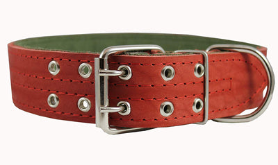 Genuine Leather Dog Collar, Padded, Red 1.75