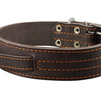 "Dogs My Love Brown Genuine Leather 27""x1.75"" Wide Handle Collar Fits 20""-24"" Neck X-Large"