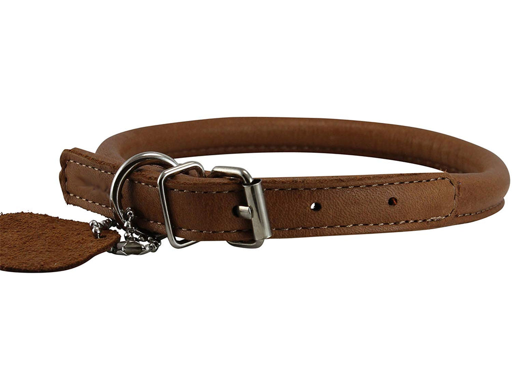 "Genuine Leather Rolled Dog Collar Neck: 10.5""-14"" size, Chow Chow, Collie, Labrador, Puppies"