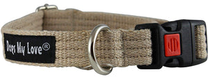 Cotton Web Adjustable Dog Collar with Locking Device 4 Sizes Beige