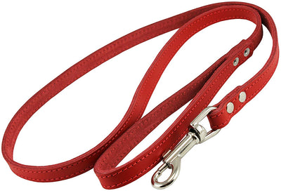 Dogs My Love Genuine Leather Dog Leash 4-Feet Wide Red
