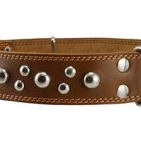 "Genuine 1.75"" Wide Thick Leather Studded Dog Collar Tan. Fits 21.5""-26"" Neck, XLarge Breeds"