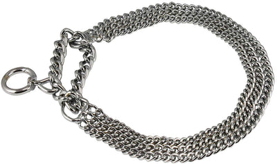 Triple Chain Heavy Duty Semi Choke Martingale Dog Collar 3mm Link Chrome 6 Sizes