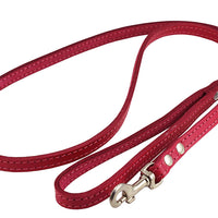 Dogs My Love Genuine Leather Dog Leash 4-Feet Wide Pink