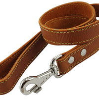 "4' Classic Genuine Leather Dog Leash 1"" Wide for Largest Breeds Orange"
