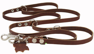 Multifunctional Leather Dog Leash Adjustable 6 Way Lead Brown 49