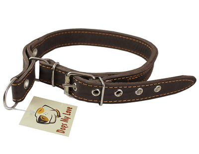 Martingale Genuine Brown Double Ply Leather Dog Collar Choker Medium to Large Fits 17.5