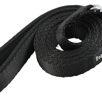 Dogs My Love 6ft Long Neoprene Padded Handle Nylon Leash 4 Sizes Black
