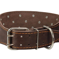 "Dogs My Love 3"" Extra Wide Genuine Leather Brown Leather Collar Fits 17.5""-22"" Neck Large/Medium"