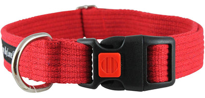 Cotton Web Adjustable Dog Collar with Locking Device 4 Sizes Red