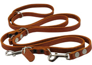 "6 Way Multifunctional Leather Dog Leash, Adjustable Lead Orange 49""-94"" Long, 5/8"" Wide (15 mm)"